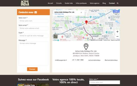 Screenshot of Contact Page voyageinde.fr - Contact - Voyage Inde - captured Oct. 29, 2018