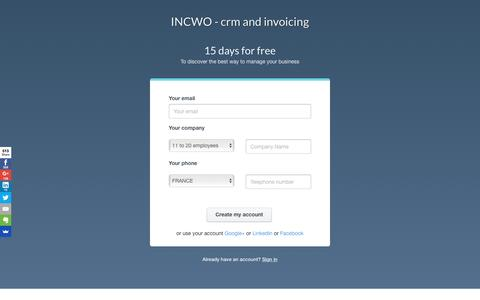 Screenshot of Signup Page Trial Page incwo.com - INCWO - CRM, facturation en ligne - Free trial - captured Dec. 24, 2016