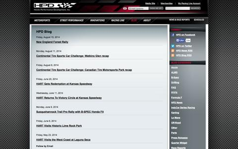 Screenshot of Blog honda.com - Honda Performance Development - captured Sept. 18, 2014