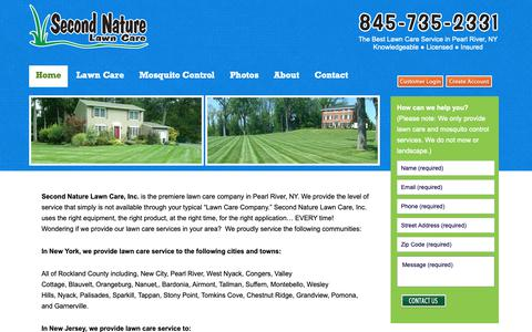Screenshot of Home Page secondnaturelawncare.com - Lawn service, tree and shrub care serving Rockland, Westchester, Orange NY and Bergen NJ - captured Oct. 18, 2018