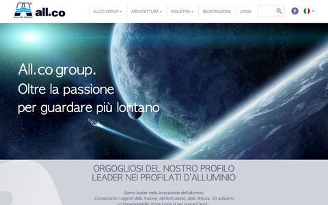 Screenshot of Home Page allco.it - All.co Group | persiane, estrusi e profilati in alluminio - captured Oct. 3, 2018