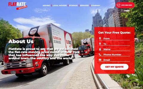 Screenshot of About Page flatrate.com - About Us | FlatRate Moving Company | Movers in NYC, LA, Miami and More - captured July 27, 2018