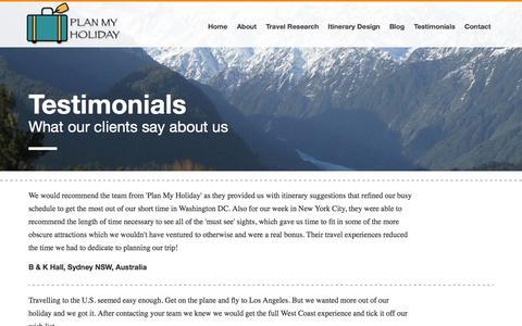 Screenshot of Testimonials Page planmyholidayco.com.au - Testimonials - Plan My Holiday - captured Sept. 30, 2014
