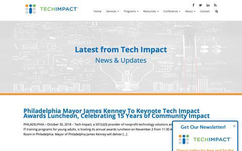 Screenshot of Press Page techimpact.org - News - Tech Impact - captured Nov. 7, 2018