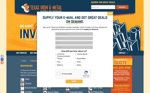 Screenshot of Products Page texasironandmetal.com - Products - Texas Iron and Metal - captured Sept. 20, 2018