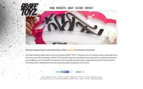 Screenshot of Home Page Privacy Page Site Map Page grafftoyz.com - GRAFF TOYZ™ - Interactive graffiti inspired toys and art object - captured Sept. 30, 2014