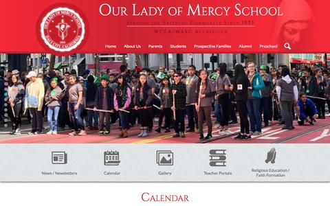 Screenshot of Home Page olmbulldogs.com - Our Lady of Mercy Catholic School - captured May 3, 2018