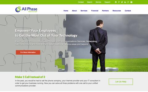 Screenshot of Home Page allphasecom.com - Seattle Risk Free VoIP, Cloud Communications | All Phase Communications - captured Feb. 5, 2016