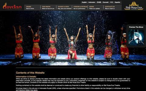 Screenshot of Terms Page devdanshow.com - Terms and Conditions of Devdan Show | Bali Nusa Dua Theatre - captured Nov. 22, 2016