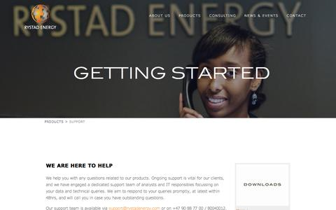 Screenshot of Support Page rystadenergy.com - Getting Started - captured Aug. 15, 2016