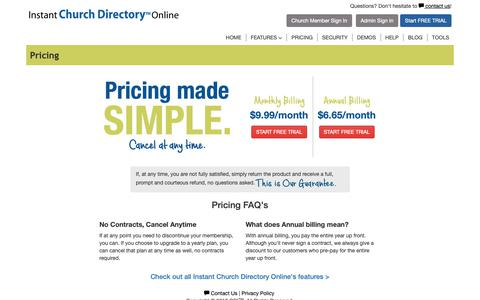 Screenshot of Pricing Page instantchurchdirectory.com - Your solution to create a professional church directory. | Instant Church Directory. - captured Oct. 24, 2018