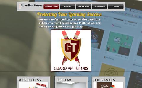 Screenshot of Home Page guardiantutors.ca - Guardian Tutors in Kelowna - captured Dec. 15, 2015