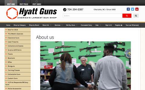 Screenshot of About Page hyattgunstore.com - About us - Hyatt Guns - captured Feb. 7, 2018