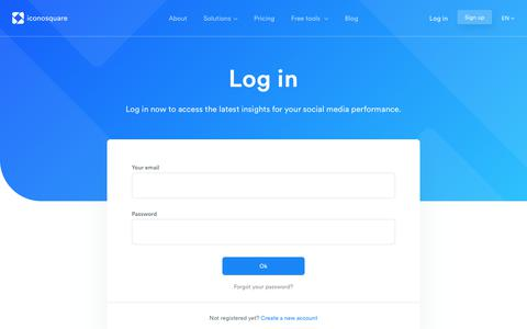 Screenshot of Login Page iconosquare.com - Iconosquare - captured Nov. 15, 2018