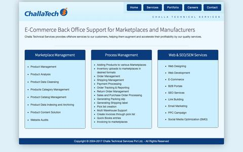 Screenshot of Services Page challatech.com - Challa Technical Services Pvt. Ltd. - captured Sept. 27, 2018