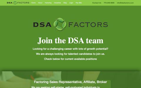 Screenshot of Jobs Page dsafactors.com - Currently Hiring Sales Representatives - DSA Factors - captured Sept. 8, 2019