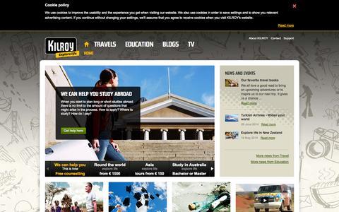 Screenshot of Home Page kilroy.eu - KILROY - Backpacker travel, education abroad, deals - captured Sept. 19, 2014