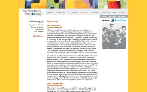 Screenshot of Testimonials Page greenbaumlaw.com - Greenbaum Rowe Smith & Davis LLP: Testimonials - captured Oct. 3, 2014