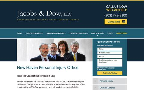 Screenshot of Maps & Directions Page jacobslaw.com - Directions   Jacobs & Dow   New Haven, Connecticut - captured Oct. 13, 2018