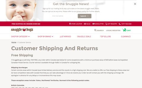 Screenshot of Support Page snugglebugz.ca - Customer Service  - Canada's Baby Store - captured Jan. 17, 2016
