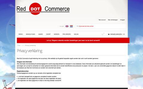 Screenshot of Privacy Page reddotcommerce.nl - Privacy verklaring - captured Dec. 11, 2018