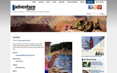 Screenshot of Contact Page adventureparents.com - Contact Adventure Parents - Adventure Parents - captured Nov. 4, 2014