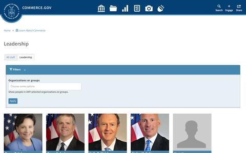 Screenshot of Team Page commerce.gov - Leadership | Department of Commerce - captured Jan. 14, 2016