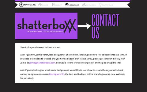 Screenshot of Contact Page shatterboxx.com - Contact - captured Sept. 23, 2014