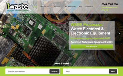 Screenshot of Home Page iwaste.co.uk - iWaste | Intelligent Waste Management | Business WEEE Recycling | Home - captured Oct. 6, 2014