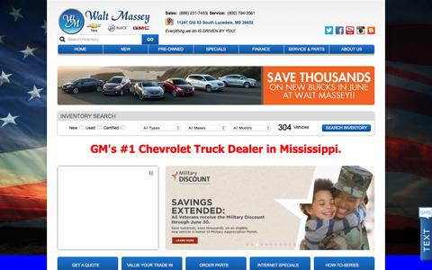 Screenshot of Home Page waltmassey.com - Mobile Chevy GMC Dealer Lucedale MS | Walt Massey Auto | Biloxi - captured June 21, 2016