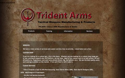 Screenshot of Services Page tridentarms.us - Trident Arms Services - captured Oct. 7, 2014