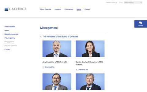 Screenshot of Team Page galenica.com - Management - Galenica.com - captured July 14, 2017
