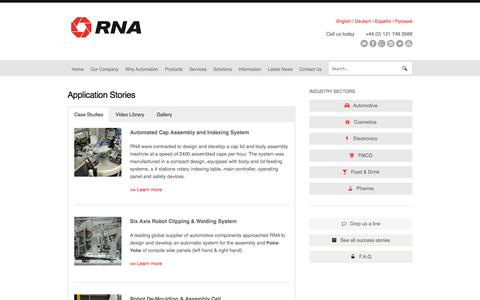 Screenshot of Case Studies Page rnaautomation.com - Application Stories - RNA Automation - captured Nov. 2, 2017