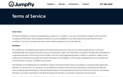 Screenshot of Terms Page jumpfly.com - Terms of Service   JumpFly, Inc. - captured Jan. 20, 2020