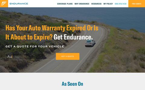 Screenshot of Home Page endurancewarranty.com - Endurance® Extended Car Warranty Pays for Auto Repairs - captured Feb. 5, 2018