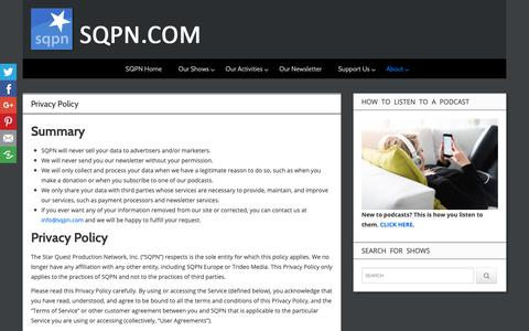 Screenshot of Privacy Page sqpn.com - Privacy Policy - SQPN.com - captured Oct. 13, 2018