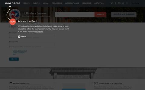 Screenshot of Login Page uschamber.com - Home | U.S. Chamber of Commerce - captured Oct. 2, 2015