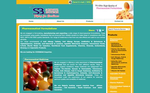 Screenshot of Products Page schwitzbiotech.com - Pharmaceutical Formulations - Injectable Products, Analgesic and Antifungal Skin Cream from Ahmedabad, India - captured Sept. 30, 2014