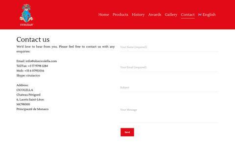 Screenshot of Contact Page oliocicolella.com - Olio Cicolella | Contact - captured Oct. 19, 2018