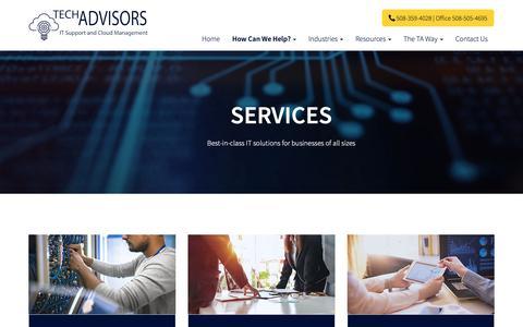 Screenshot of Services Page tech-adv.com - Services - Boston, Newton, Medfield   Tech Advisors - captured Nov. 15, 2018