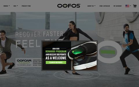 Screenshot of Home Page oofos.com - OOFOS Recovery Footwear - Official Store - captured June 18, 2018