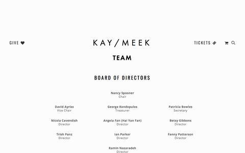 Screenshot of Team Page kaymeek.com - Team — KAY/MEEK - captured Jan. 16, 2018