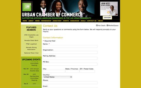 Screenshot of Contact Page urbanchamber.org - Contact Us - Urban Chamber of Commerce - captured Oct. 26, 2014