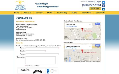 Screenshot of Contact Page cvicentralflorida.org - Contact Us | Center for the Visually Impaired | Daytona Beach - captured Oct. 2, 2014