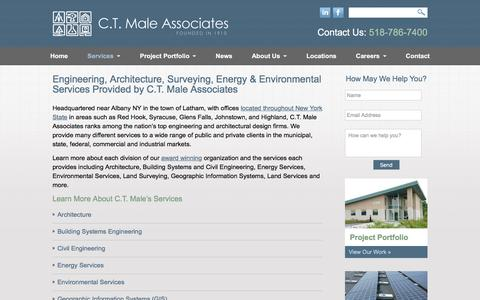 Screenshot of Services Page ctmale.com - Engineering, Architectural, Land Surveying, Energy & Environmental Services by C.T. Male - captured July 9, 2017