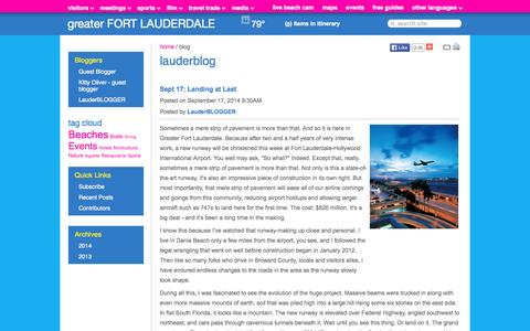 Screenshot of Blog sunny.org - Lauderblog | Fort Lauderdale Tips, Events, Things To Do - captured Sept. 19, 2014