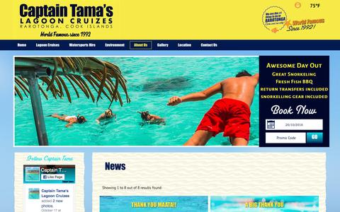Screenshot of Press Page captaintamas.com - News for Captain Tama`s Lagoon Cruizes - Rarotonga Tours / Activities Cook Islands Attractions - captured Oct. 20, 2016