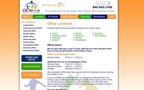 Screenshot of Hours Page childrensmedgroup.com - Office Locations |  Children's Medical Group - captured Oct. 26, 2014