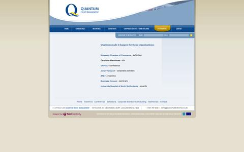 Screenshot of Testimonials Page quantumevents.co.uk - // Quantum Event Management // - captured Oct. 3, 2014
