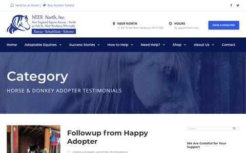 Screenshot of Testimonials Page neernorth.org - Horse & Donkey Adopter Testimonials Archives | NEER NORTH Horse Rescue - captured Oct. 18, 2018